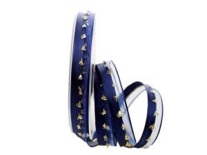 Weihnachtsband Katrineholm blau mit Nylonkante 15mm