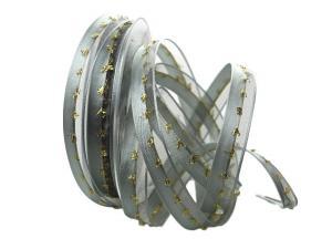 Weihnachtsband Katrineholm grau mit Nylonkante 15mm