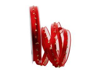 Weihnachtsband Katrineholm rot mit Nylonkante 15mm