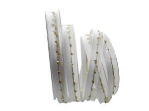 Weihnachtsband Katrineholm weiß mit Nylonkante 15mm