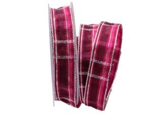 Weihnachtsband Schweden pink mit Draht 25mm
