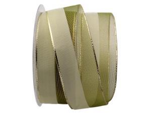 Weihnachtsband Marina olivegrün mit Draht 40mm