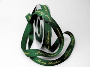 Weihnachtsband Merry Christmas grün 15mm ohne Draht