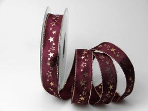 Weihnachtsband Milchstraße lila 25mm mit Draht