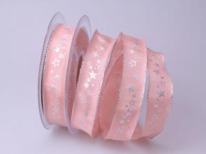 Weihnachtsband Milchstraße rosa 25mm mit Draht