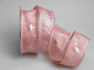 Weihnachtsband Milchstraße rosa 40mm mit Draht - Geschenkband günstig online kaufen!