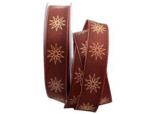 Weihnachtsband moderne Sterne braun 25mm mit Draht