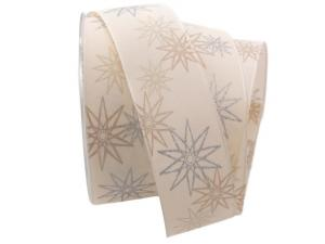 Weihnachtsband moderne Sterne creme 40mm mit Draht