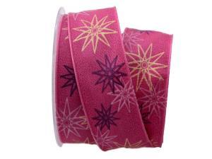 Weihnachtsband moderne Sterne pink 40mm mit Draht