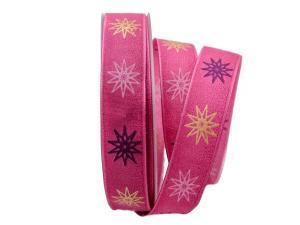 Weihnachtsband moderne Sterne pink 25mm mit Draht