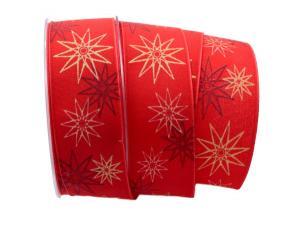 Weihnachtsband moderne Sterne rot 40mm mit Draht