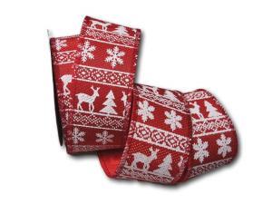 Weihnachtsband Norwegen 65mm rot ohne Draht - im Bänder Großhandel günstig kaufen!
