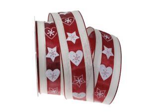 Weihnachtsband Norwegischer Winter bordeaux 40mm mit Draht