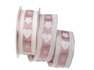 Weihnachtsband Norwegischer Winter rosa mit Draht 40mm