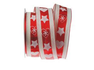 Weihnachtsband Norwegischer Winter rot mit Draht 40mm