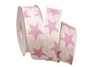 Weihnachtsband Nostalgiesterne creme / rosa 40mm mit Draht