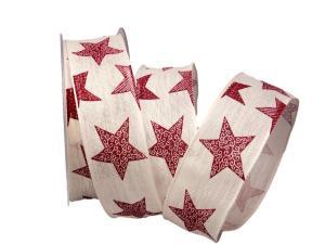 Weihnachtsband Nostalgiesterne rot / creme 40mm mit Draht