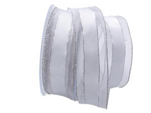 Weihnachtsband Rimbach 40mm weiß mit Draht - im Bänder Großhandel günstig kaufen!