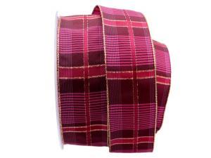 Weihnachtsband Schweden pink mit Draht 40mm