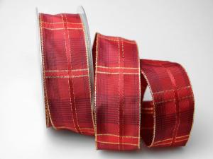 Weihnachtsband Schweden rot 40mm mit Draht - Geschenkband günstig online kaufen!