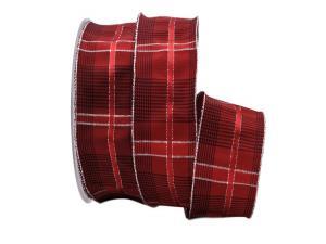 Weihnachtsband Schweden rot mit Draht 40mm
