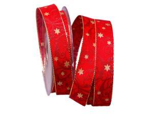 Weihnachtsband Sternenranke rot 25mm mit Draht