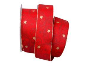 Weihnachtsband Sternenranke rot 40mm mit Draht