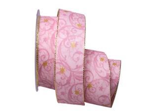 Weihnachtsband Sternenranke rosa 40mm mit Draht