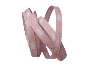 Weihnachtsband Tännchen rosa 15mm mit Draht