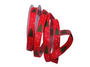 Weihnachtsband Tännchen rot 15mm mit Draht