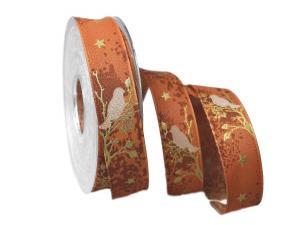Weihnachtsband Taiga braun 25mm mit Draht