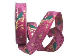 Weihnachtsband Taiga lila 25mm mit Draht