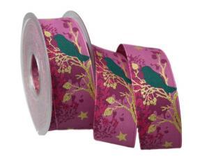 Weihnachtsband Taiga lila 40mm mit Draht