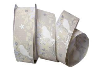 Weihnachtsband Taiga silber mit Draht 40mm
