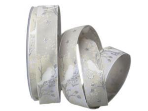 Weihnachtsband Taiga silber mit Draht 25mm