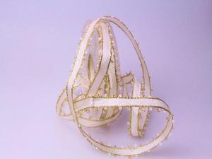 Weihnachtsband Tiber creme 15mm mit Draht