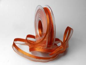 Weihnachtsband Toulon orange 15mm mit Draht - im Bänder Großhandel günstig kaufen!