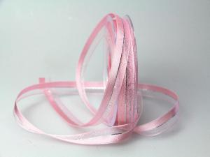 Weihnachtsband Toulon rosa 15mm mit Draht