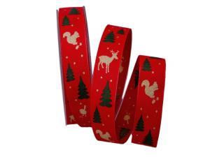 Weihnachtsband Waldleben rot mit Draht 25mm