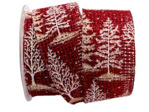 Weihnachtsband Winterwald 62mm rot mit Draht