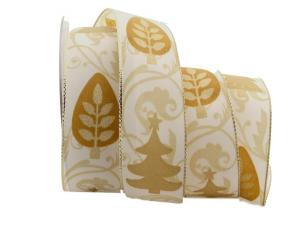 Weihnachtsband Zauberwald creme mit Draht 40mm - Geschenkband günstig online kaufen!