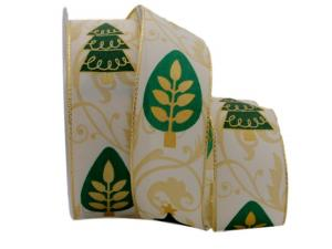 Weihnachtsband Zauberwald grün mit Draht 40mm