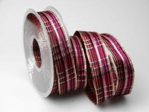Weihnachtskaro pink craft 25mm mit Draht