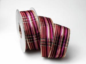 Weihnachtskaro pink craft 40mm mit Draht