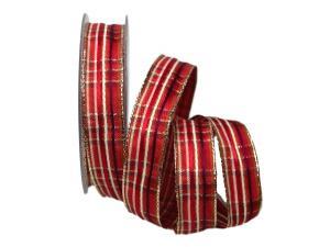 Weihnachtskaro rot craft 25mm mit Draht