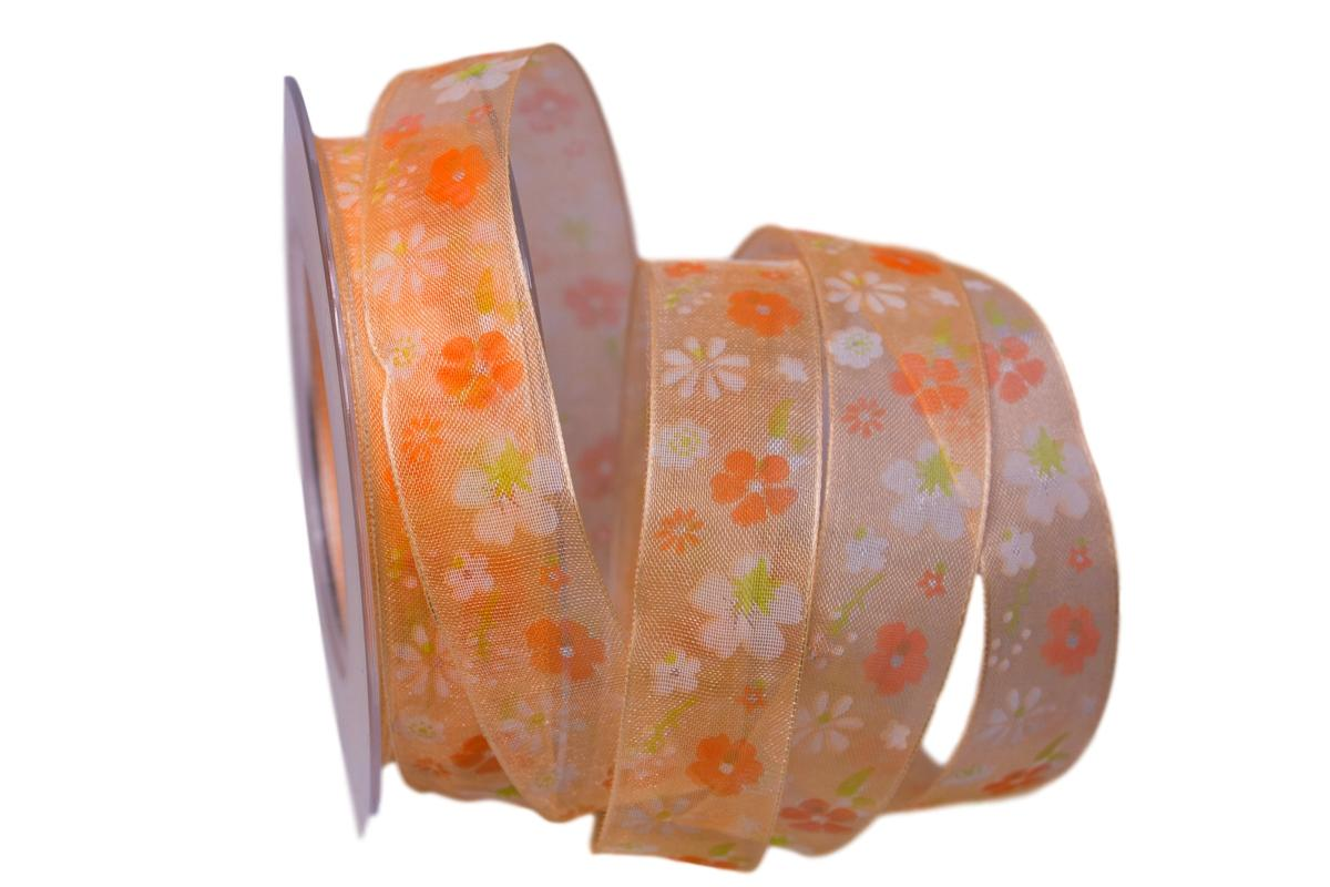 Motivband Bari 25mm orange mit Draht