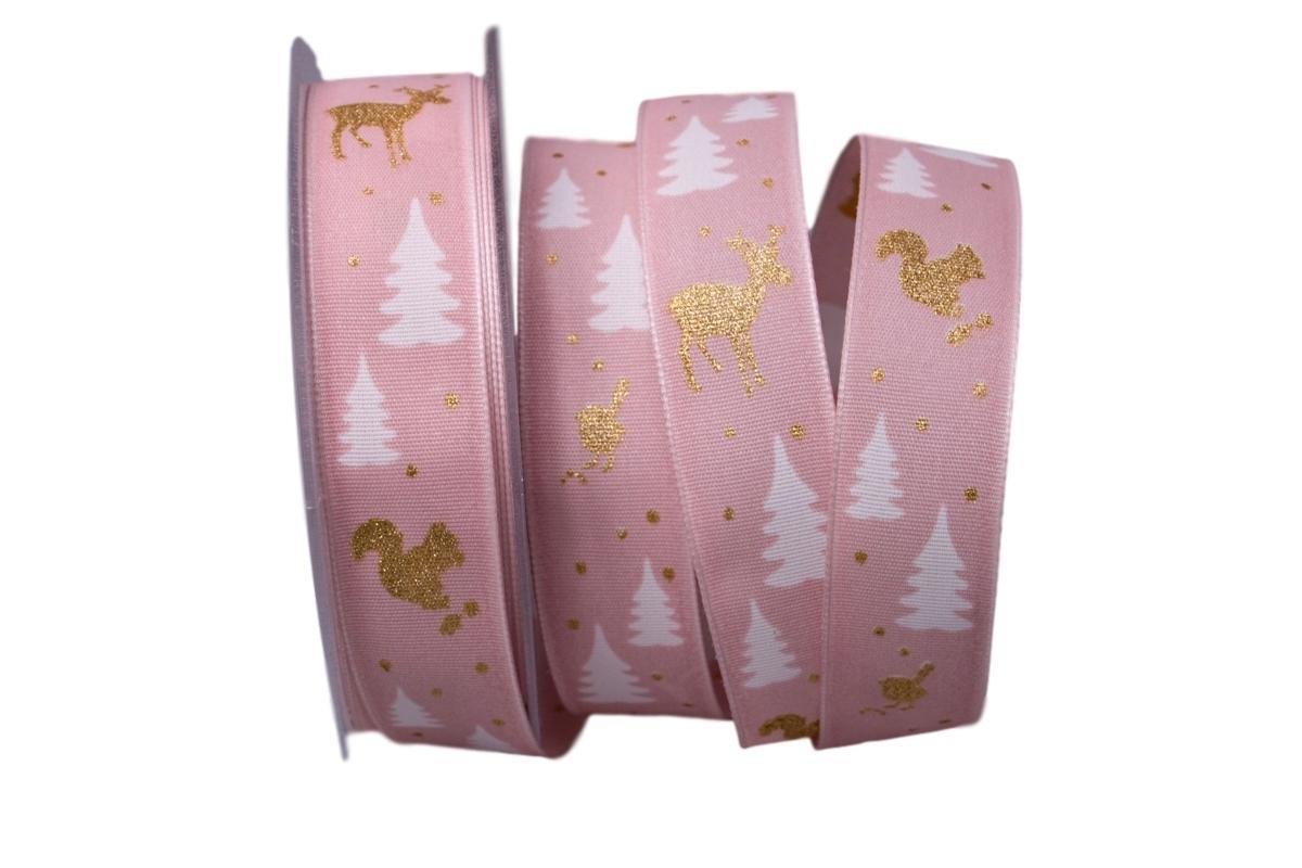 Weihnachtsband Waldleben rosa 25mm mit Draht jetzt günstig kaufen ...